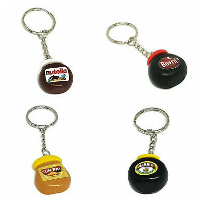Polymer Clay Food Drink Jar Keyring Marmite Nutella Bovril Peanut Butter