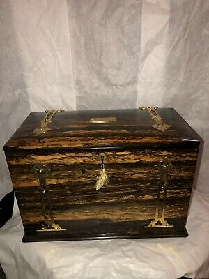 Antique Victorian Coromandel & Brass Overlay Writing Box