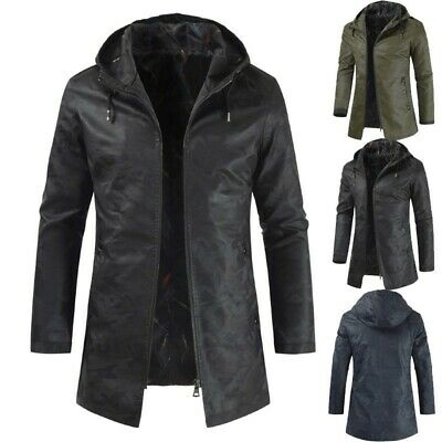 Men's Hooded Jacket Mid Long Slim Fit Casual Coat Outwear Leisure Zip Fashion