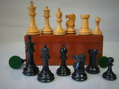 ANTIQUE CHESS SET WEIGHTED STAUNTON PATTERN  AYRES ?  K 80 mm ORIGINAL BOX