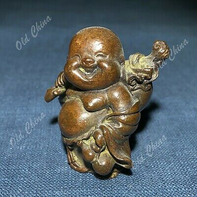 Old Antique Collectible Chinese Pure Handwork Solid Copper Coth Bag Monk Statue