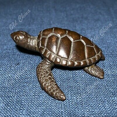 Collectible Chinese Old Solid Copper Pure Handwork Antique Sea Turtle Statue