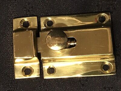 Vintage Heavy Solid Brass Cabinet/Cupboard Side Spring Latch w/Catch (Old Stock)