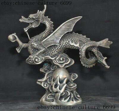 Rare old Chinese Tibetan silver Feng Shui auspicious wealth wing Dragon statue