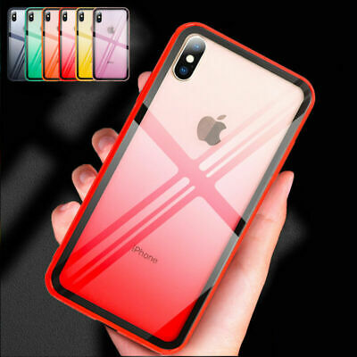For i Phone XS Max XR 7 8 6S Plus Shockproof Hybrid Tough Glass Back Case Cover