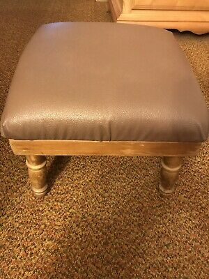 Vintage Foot Stool Brown Ottoman Mid Century Modern Square W/Pull Out Tray 16""