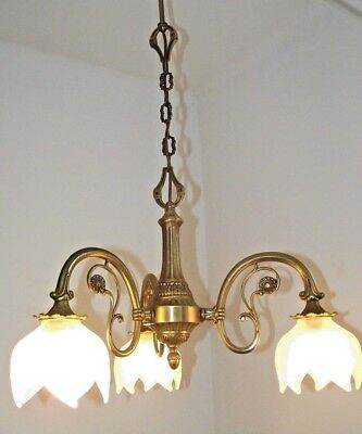 Unusual French Vintage 3 Arm Bronze Chandelier White Opaque Tulip Shades 1015