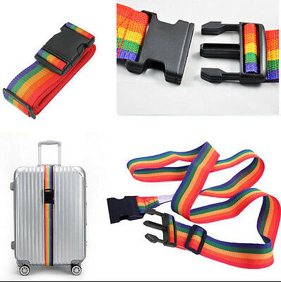 Adjustable Travelling Backpack Bag Luggage Suitcase Straps Baggage Rainbow Belt