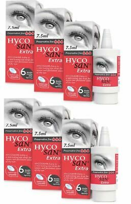 6  x Hycosan Extra Lubricating Eye Drops 7.5ml Preservative Free For Dry Eyes