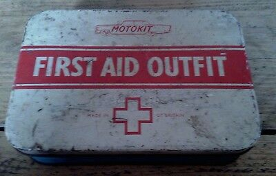 Vintage Motokit First Aid Outfit Tin With Original Contents