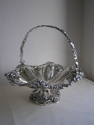 Large antique Old Sheffield Plate silver plated basket / centerpiece - c.1830