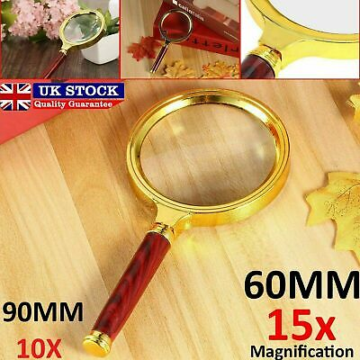 60mm/90mm Handheld Jewelry 10X/15X Magnifier Magnifying Glass Loop Loupe Reading
