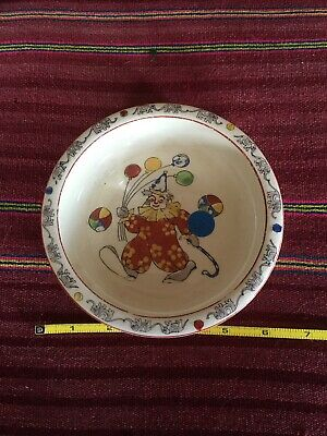 Vintage Hand painted Japan Baby Children's Bowl. Clown Elephants Circus Balloons