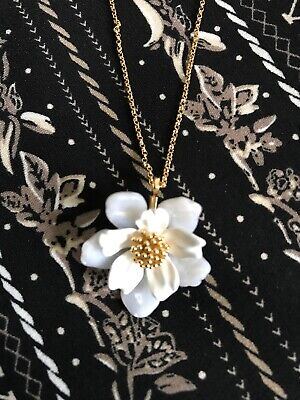 New Kate Spade White Floral Mosaic Necklace Gold Tone Beautiful Gift