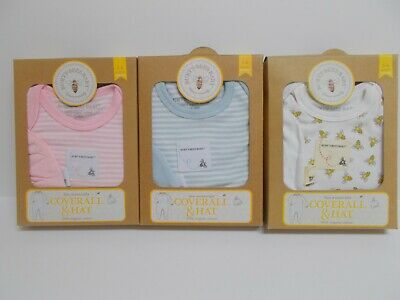 Burt's Bees Baby Bee Essentials Coverall and Hat 3-6 Months~Pink, Blue Or White