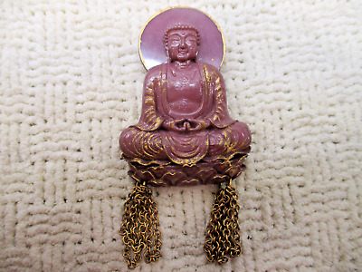 Rare Buddha Buda Carved Old Lucite Plastic Brooch Pin Vtg Antique Estate Jewelry