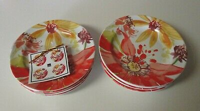 222 Fifth Summer Daisies 8 Appetizer Dessert Party Plates NWT