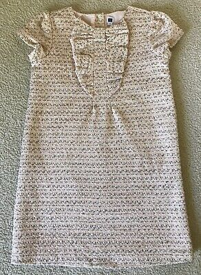 JANIE & JACK Girls Pink & Grey Tweed Dress w/ Ruffle Front size 10 *BEAUTIFUL*