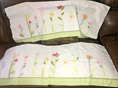 POTTERY BARN KIDS   Valance Embroidered Flower Gingham PAIR hlc