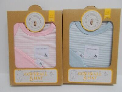 Burt's Bees Baby Bee Essentials Coverall and Hat 0-3 Months~Pink Or Blue