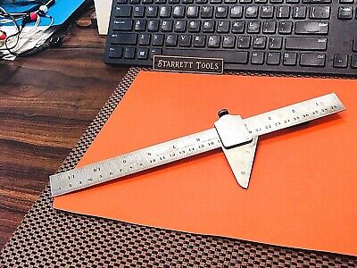 STARRETT No.22 59 Degree Drill Point Gage With No.350 Tempered Steel Ruler! USA.