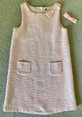 JANIE & JACK Girls Bright Orange & Cream Tweed Dress w/ Bow size 10 *BEAUTIFUL*