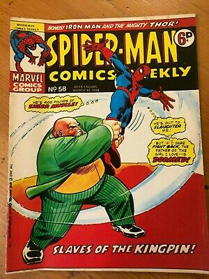 Spider-Man Comics Weekly #58 Marvel UK 1974 bronze age Iron Man Mighty Thor Hulk