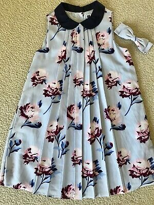 JANIE & JACK Girls Navy Blue & Floral Pleated Dress w/ Bow size 10 *BEAUTIFUL*