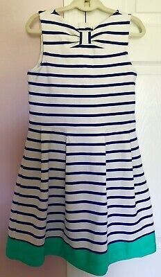 JANIE & JACK Girls Royal Blue, White, Green Striped Dress size 10 *BEAUTIFUL*