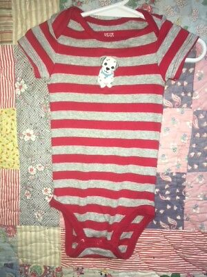 Baby boy Just One You Striped Puppy Long Short Shirt Button Bottom Size 9 M GUC