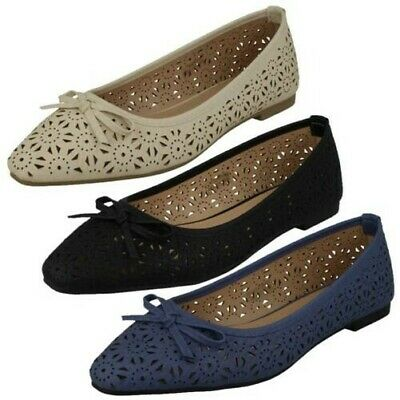 LADIES SPOT ON F8R827 SLIP ON BOW TRIM CASUAL FLAT BALLERINA DOLLY SHOES PUMPS