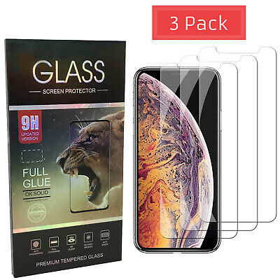 3Pack Tempered Glass Screen Protector for iPhone X XS Max XR 7 8 Plus Premium HD