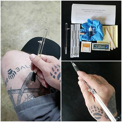 DIY Tattoo, Stick and Poke Starter kit, with 5 needles, tattoo stick, ink, glove