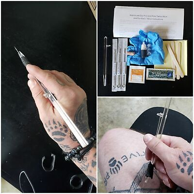 DIY stick and poke Tattoo kit. Tattoo Stick, ink, gloves instructions and more.