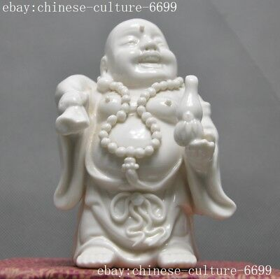 old Chinese Dehua white porcelain carving purse Laughter maitreya Buddha Statue