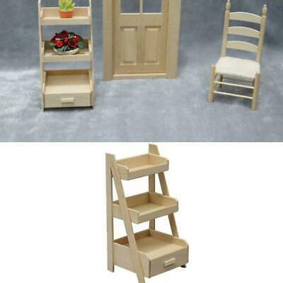 Three-tiered Wood Flower Stand Snack Rack 1:12 Doll Toy Miniature House Kid G3V5