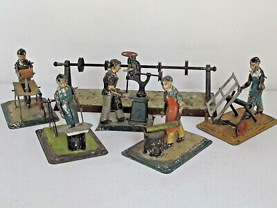 Set of 5 Antique Hand Painted Tin Workmen German Steam Operated Toys.