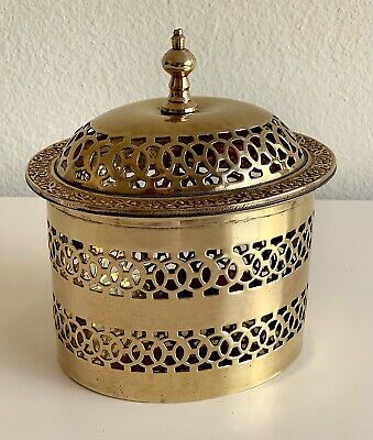 Hollywood Regency Pierced Brass Oval Trinket Jewelry Incense Potpourri Box