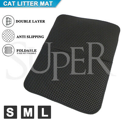 Cat Litter Trapping Mat Double-Layer Honeycomb Design Foldable Tray Trap Pad