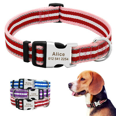 Nylon Personalized Dog Collar Reflective Engraved Buckle Tags Custom Adjustable