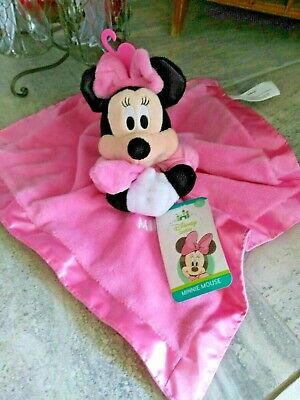New Nwts Disney Minnie Mouse Baby Lovey Security Blanket Pink Rattle Tags Plush
