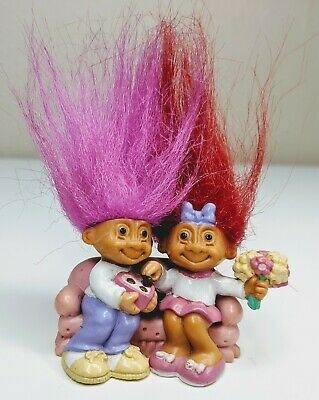 "EASTER SWEETHEARTS IN LOVE 2/"" Russ Miniature Troll Doll NEW IN ORGINAL BAG"