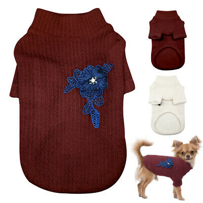 Soft Dog Knitted Sweater Jumpet Chihuahua Clothes Pet Puppy Apparel Yorkie S-XL