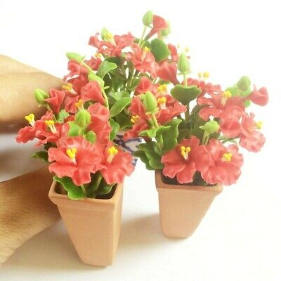 6 x Mini Red Hibiscus Rosemallows Flowers Clay Flowers Miniature Dollhouse Decor