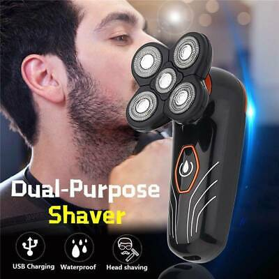 5 Head Men's Electric Floating Rechargeable Shaver Beard Hair Trimmer Bald Razor