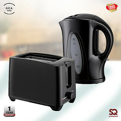 Electric Stainless Steel 1.7L  2 Slice Toaster and Kettle Set Rapid Boil Black