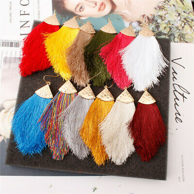 Geometric Boho Tassel Earrings Women Handmade Fringe Earrings Statement Jewelry