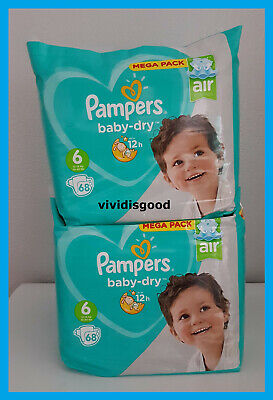 LOT DE 136 (2x68) COUCHES PAMPERS BABY-DRY TAILLE 6 (13-18 kg)