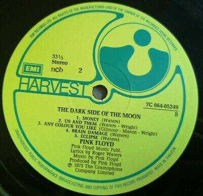 Pink Floyd LP Dark side of the moon RARE YELLOW LABEL Harvest Press & Complete