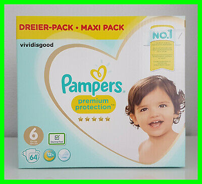 64 COUCHES PAMPERS PREMIUM PROTECTION TAILLE 6 (13+ kg)